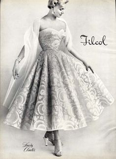 1950's Evening COCKTAIL DRESS Ad - Lace by Ametex Lace - FILCOL - 1953....Sigh.... <3