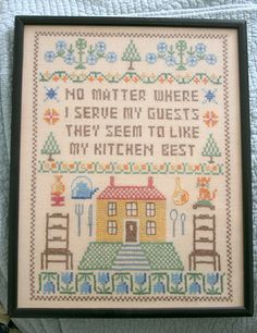 Cross Stitch  Needlepoint Sampler for the Kitchen or Hearth. $35.00, via Etsy.