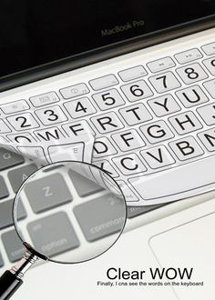 A keyboard cover that magnifies the letters and also allows for OLED backlighting. #keyboard #vision #YankoDesign