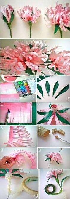 DIY Beautiful Pink Flowers.  美好生活#巧手生花#手工达人DIY的纸艺花教程