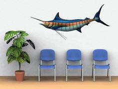Blue Marlin Fish Mount 51 Replica Wood Carving Sculpture Wall