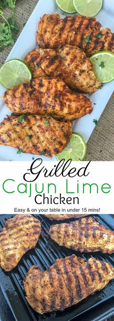 Grilled Cajun Lime Chicken Grilled Cajun Lime Chicken - juicy, tender and flavorful chicken that is super easy to make and can be on your table in under 15 minutes! And can you really go wrong with a delicious slice of chicken that is under 200 calories? Low Carb Recipes, Cooking Recipes, Healthy Recipes, Healthy Grilled Chicken Recipes, Lime Chicken Recipes, Salmon Recipes, Recipes For The Grill, Summer Grill Recipes, Heathy Chicken Dinner