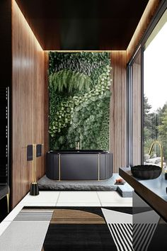 This, of course, implies some alone time – but no one said you had to be restricted. And having a dark setting in a bathroom only sets the setting for having amazing contrast with floor-to-ceiling windows just like the images we are going to show you now.  #bathroomdesign #contemporarybathrooms #modernbathrooms #classicbathrooms #mid-centurybathrooms #eclecticbathrooms #luxurybathrooms
