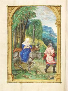Nikolaus Glockendon. The Flight into Egypt, Hours of the Virgin. 1534?, Aschaffenburg, Hofbibliothek, Ms. 9, fol. 32v