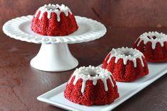 Mini Red Velvet Bundt Cakes with Cream Cheese Glaze - Overtime Cook