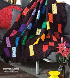 Colorful squared crochet afghan
