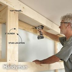 Mount the top frame for the built-in bookcase. - Showcase Built-In Bookcase Plans: http://www.familyhandyman.com/woodworking/bookcase/showcase-built-in-bookcase-plans/view-all