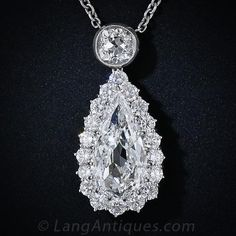 Old Mine Pear-Shaped Antique Diamond Drop Necklace