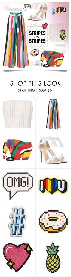 """""""Colorpop"""" by devaanggraenii ❤ liked on Polyvore featuring Thierry Mugler, Tome, Loewe, Alexandre Birman, Anya Hindmarch, Stoney Clover Lane, stripesonstripes and PatternChallenge"""