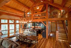 Timber Frame in the Mountains - rustic - dining room - denver - by Texas Timber Frames