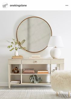 Massive circle mirror for entryway statement