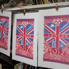 London 2012 linocut print by British artisan, Zoe Badger. Absolutely love this!  £20.00