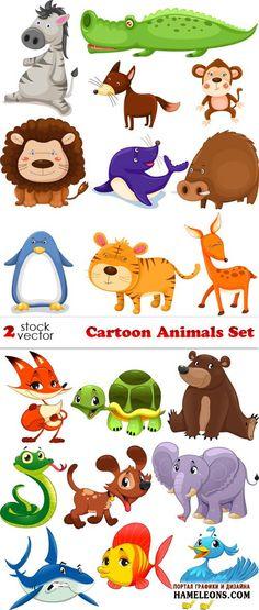 Мультяшные животные - зебра, крокодил, лиса, обезьяна, лев, тигр, пингвин, черепаха медведь, собака, слон, змея, акула, рыба, птица в векторе   Cartoon animals vector