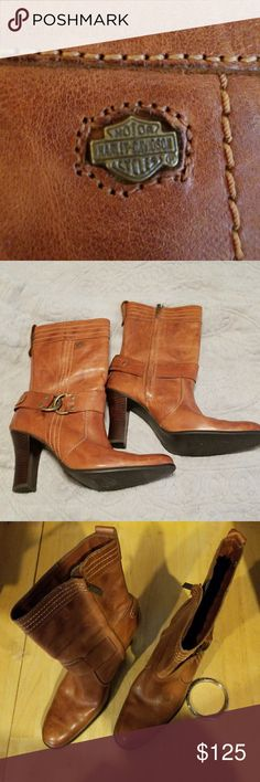 Harley Davidson Boots. Four inch heel.  Beautiful. Size 10. Harley-Davidson Shoes Heeled Boots