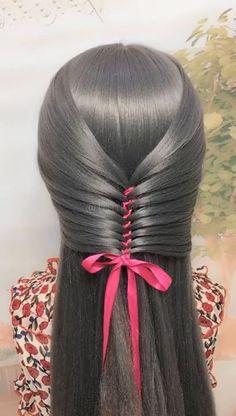 Hair-style knitting skills with ribbons Ribbon tying - Beliebt Haar Und Beauty Box Braids Hairstyles, Summer Hairstyles, Cute Hairstyles, Beautiful Hairstyles, Hairstyles Videos, Ribbon Hairstyle, Hair Updo, Hairstyles With Ribbon, Hairstyle Braid