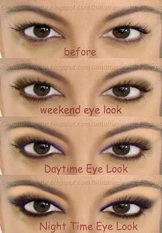 step by step makeup tutorials: Weekend, Daytime, to Night Time Hooded Eyes