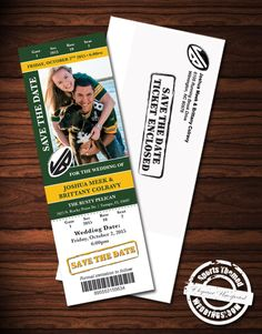 Green Bay Packers Fan Custom designed Save the Date.  Football Themed Wedding Table Centerpiece Ideas  #footballwedding  #stwdotcom