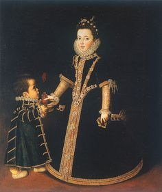 Sofonisba Anguissola Girl with a dwarf (thought to be a portrait of Margarita of Savoy, daughter of the Duke and Duchess of Savoy) circa 1595