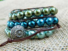 Olive green, sage green, and montana blue glass pearl beaded chan luu style wrap bracelet