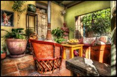 Mexican Style Porch 2 methods of HDR/tonemapping Mexican Style Decor, Mexican Style Homes, Mexican Style Kitchens, Mexican Patio, Mexican Hacienda, Hacienda Style, Spanish Bungalow, Spanish Style, Southwest Image
