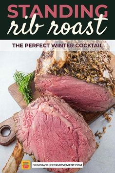 The best Standing Rib Roast Recipe! A Standing Rib Roast is easier to make than you might think! It is the quintessential holiday roast centerpiece. Prime Rib Roast Recipe Bone In, Prime Rib Recipe Easy, Cooking Prime Rib Roast, Prime Rib Of Beef, Beef Rib Roast, Prime Rib Bone In, Standing Rib Roast, Roast Recipes, Barbecue