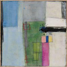 "Township 1 by Mary Long, 24 x 24"" framed, encaustic, mixed media on panel | Karan Ruhlen Gallery Santa Fe"