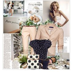 navy polkadot poplin, cream cropped blazer and flared slacks, white and navy polkadot handbag, white pearls multi-level, denim shoes Polyvore