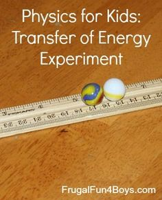 Easy DIY experiment to learn conservation of energy and how energy transfers.  Materials: marbles and a ruler.  Fun for boys and girls! #STEM #Education #DIY