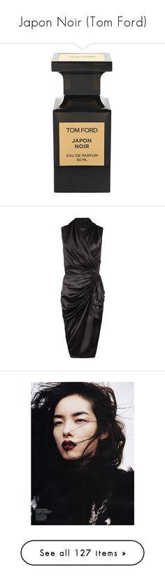 """Japon Noir (Tom Ford)"" by lillian-pandola ❤ liked on Polyvore featuring dresses, vestidos, black, short dresses, allsaints dress, drape dress, wet look dress, wrap dress, people and models"