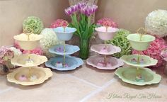 3 Tier cake Stand Spring Blossoms china for by HelensRoyalTeaHouse