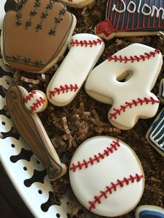 Baseball cookies. Red,white and blue.