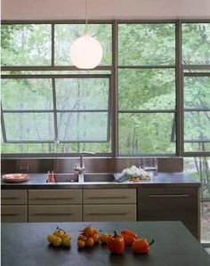 Kitchen with wall of windows. By architect Page Goolrick