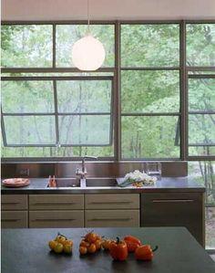 modern kitchen with gorgeous windows