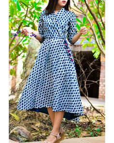 The Secret Label Indigo & White Cotton Printed Dress