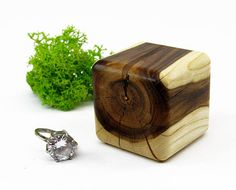 Rustic wooden ring holder Unique ring case Wedding ring box