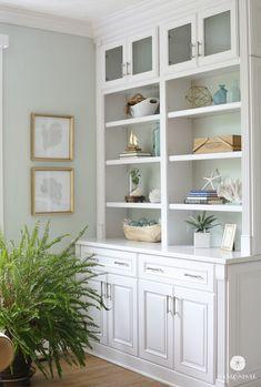 Decorating Coastal Built-in Bookcases + DIY Sea Fan Art. Simple, easy and elegant.
