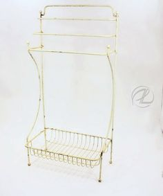 Vintage Towel Rack Wire Floor Stand Tall With Basket Metal Shabby Chic Painted $124.99 #vintagetowelrack #antiquetowelrack #towelrackshabbychic