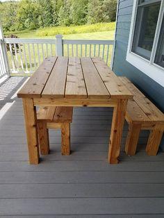 Outdoor Cedar Picnic Table Set - Patio Table - Ideas of Patio Table - Outdoor Cedar Picnic Table Set Wooden Outdoor Table, Wooden Picnic Tables, Outdoor Picnic Tables, Diy Outdoor Furniture, Diy Furniture, Outdoor Decor, Furniture Makeover, Cedar Table, Rustic Furniture