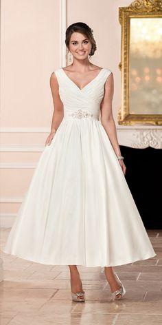 Stella York Short Tea length Satin Wedding Dress style 6356 a / http://www.deerpearlflowers.com/stella-york-fall-2016-wedding-dresses/3/