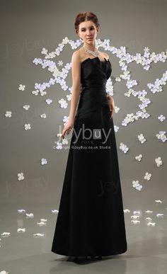 Full Length Strapless Satin Ruched Beaded Black Bridesmaid Dress £117.49