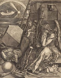 The Guardian: A short history of mental illness in art |  Johan Wierix; after Albrecht Durer, Melancolia. Engraving on paper, Scottish National Gallery. Photograph: Antonia Reeve