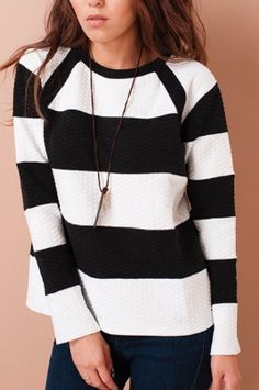 Black and White Thick Stripe Sweater