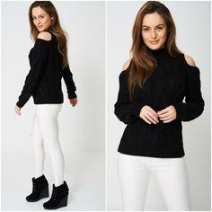 Black Chunky Cable Knit Long Sleeved Cold Shoulder Jumper Size UK 10 High Neck #Unbranded #Pullover #Casual Cold Shoulder Jumper, Cable Knit, Knitwear, Pullover, Knitting, Long Sleeve, Casual, Sleeves, Black