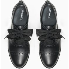 MAX&Co. Openwork lace-up leather shoes (4.241.130 IDR) ❤ liked on Polyvore featuring shoes, oxfords, lace up oxfords, oxford platform shoes, leather oxford shoes, lightweight shoes and laced up shoes