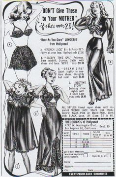 Perfect for Mom, if she's not an old hag over (Frederick's Of Hollywood) Pin Up Vintage, Vintage Ads, Vintage Stuff, Vintage Glamour, Hollywood Lingerie, Retro Lingerie, Classic Lingerie, Vintage Outfits, Vintage Fashion