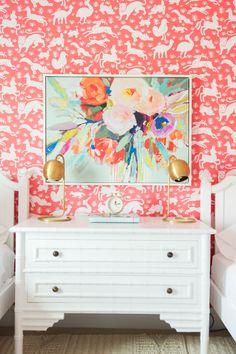 girls' bedroom with otomi animal wallpaper Thibaut Nairobi