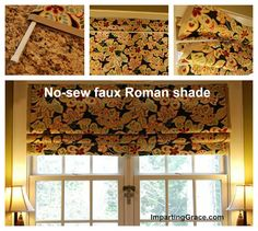 Easy remedy to add that final touch to windows with only fabric and tension rods. You could use tablecloths for the fabric and when you change out the curtains you can reuse the tablecloth for a table.