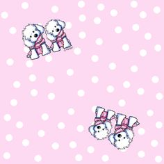 Maltese Girls in Pink fabric by kiniart on Spoonflower - custom fabric