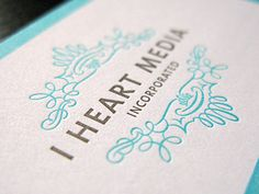 I Heart Media Inc. letterpress cards
