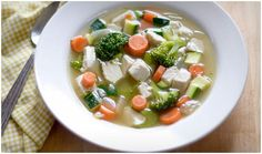 Loaded vegetable and chicken soup....extremely healthy! Eat up!